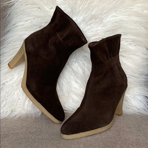 Colin Stuart Suede Ruffle Ankle Booties